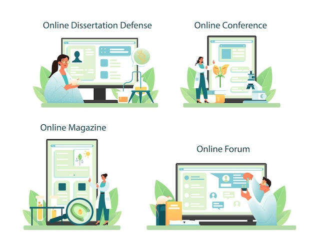 Servizio online di biologo o set di piattaforme. illustrazione vettoriale piatta
