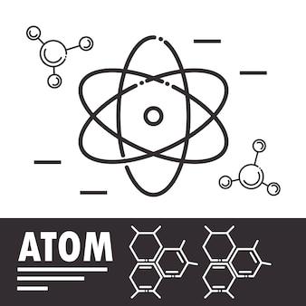 Biologia atomo molecola scienza linea stile illustrazione