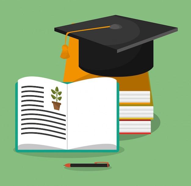 Graduazione del cappello di libri di biologia