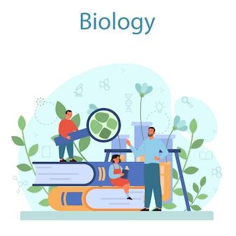 Concetto di soggetto della scuola di biologia. lezione di botanica. scienziato che esplora la natura.
