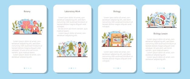 Il banner dell'applicazione mobile per materie scolastiche di biologia ha impostato gli studenti che esplorano