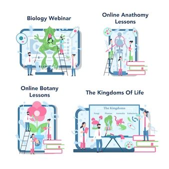 Servizio o piattaforma di formazione online di materie scolastiche di biologia su un set di concetti di dispositivi diversi. lezione di anatomia e botanica. dea dell'educazione e della sperimentazione.