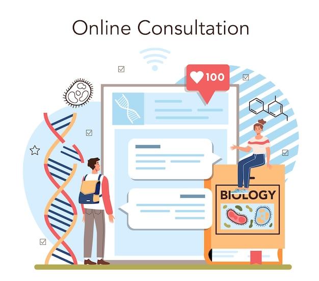 Servizio online di materie scolastiche di biologia o piattaforma che gli studenti esplorano