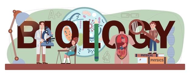 Intestazione tipografica di biologia. studenti che esplorano la natura e gli organismi viventi