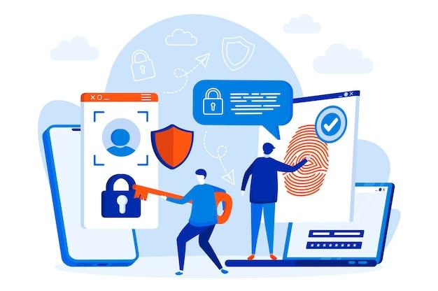Web design di controllo accessi biometrico con illustrazione di personaggi di persone