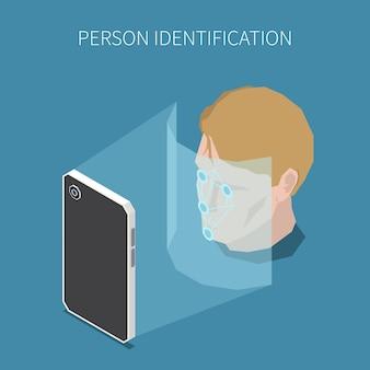 Illustrazione isometrica di autenticazione biometrica