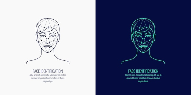 Identificazione biometrica di una persona. grafica vettoriale di una testa di ragazze.