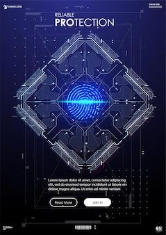 Banner di identificazione biometrica o sistema di riconoscimento della persona