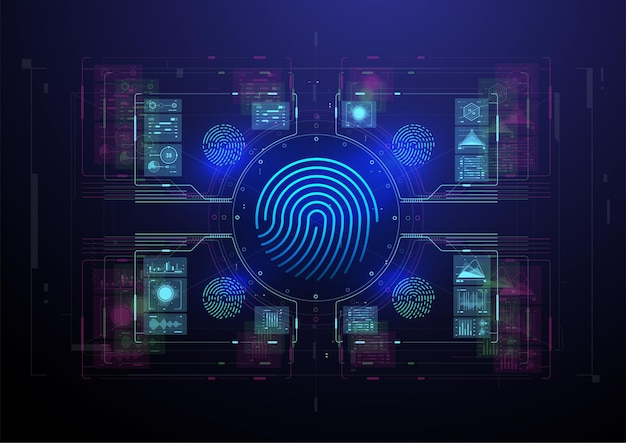Sistema di identificazione o riconoscimento biometrico della persona. scansione delle impronte digitali.
