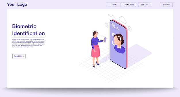 Modello di pagina web di identificazione biometrica con illustrazione isometrica