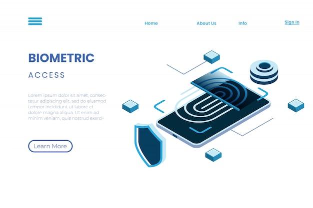 Illustrazione biometrica di protezione per verifica, illustrazione di tecnologia che utilizza le impronte digitali nello stile isometrico dell'illustrazione 3d