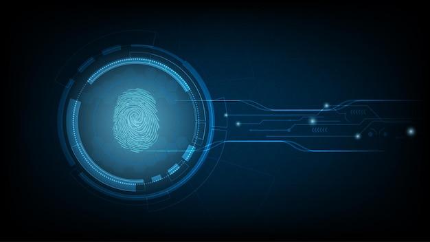 Tecnologia hi-tech biometrica con sfondo di scansione delle impronte digitali. concetto di sicurezza aziendale. illustrazione vettoriale.