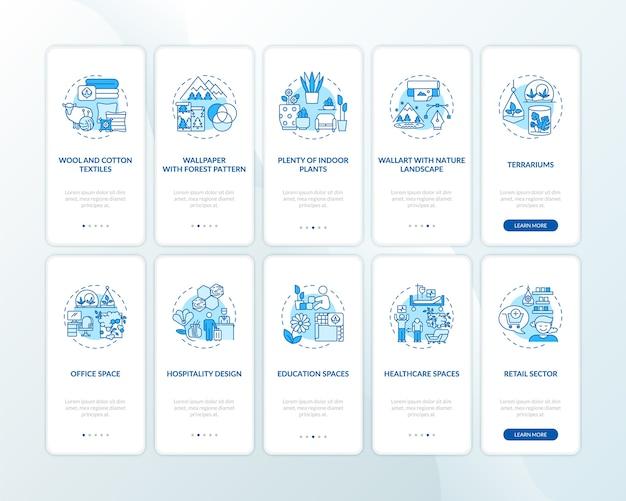 Schermata della pagina dell'app mobile onboarding blu di biophilia con set di concetti. materiali naturali.