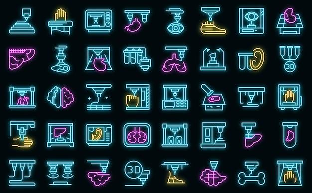 Set di icone di bioprinting neon vettoriale