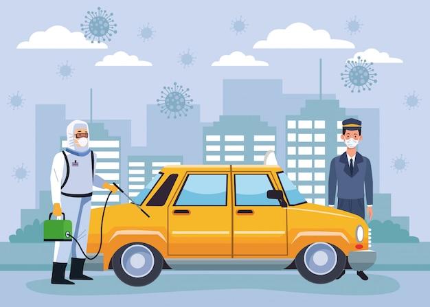Taxi per disinfezione del lavoratore di biosicurezza