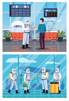 I lavoratori della biosicurezza disinfettano l'aeroporto e controllano la temperatura per