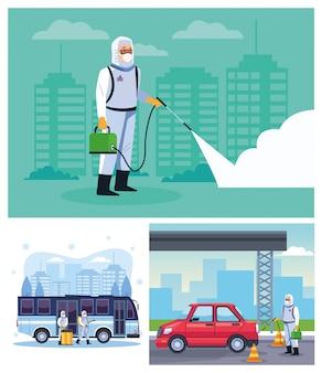 I lavoratori della biosicurezza disinfettano autobus e auto