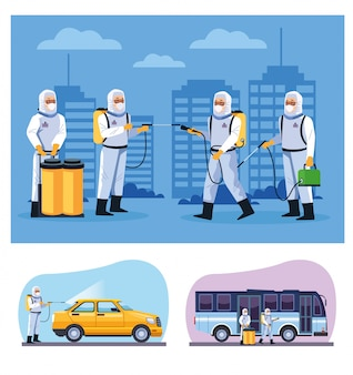 Gli addetti alla biosicurezza disinfezione autobus e taxi