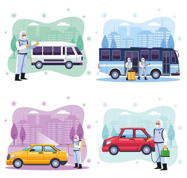 Gli addetti alla sicurezza biologica disinfettano i servizi di trasporto