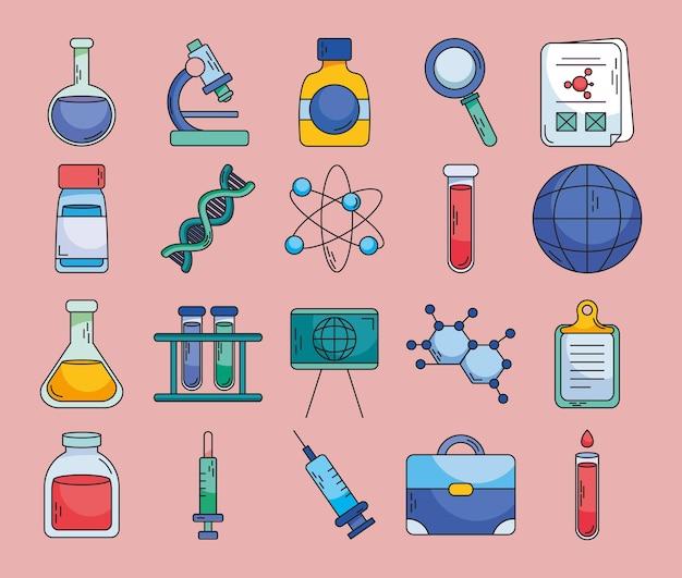 Set di icone di biotecnologia e chimica