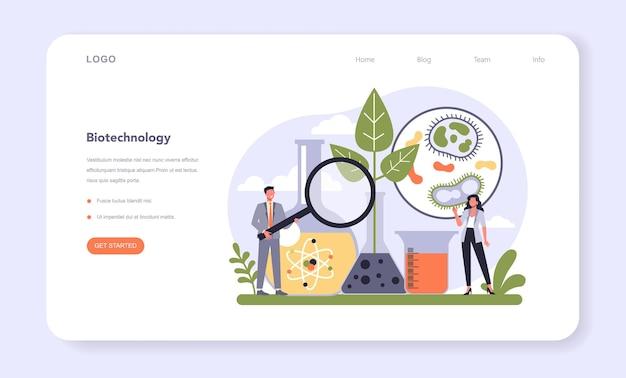 Settore dell'industria delle biotecnologie dell'economia banner web o pagina di destinazione.