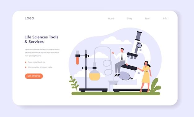 Settore dell'industria delle biotecnologie dell'economia banner web o landing page