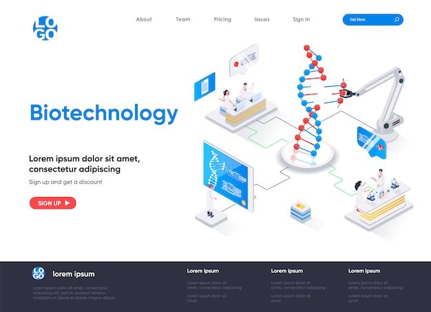 Modello di pagina di destinazione isometrica di biotecnologia