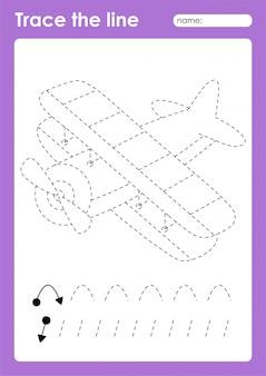 Biplano - foglio di lavoro prescolare per linee di tracciamento di trasporto per bambini
