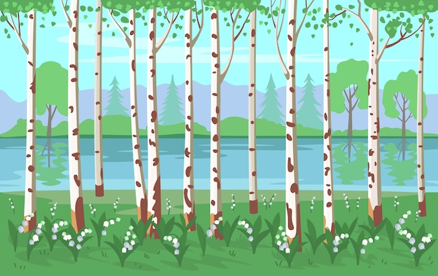 Boschetto di betulle con mughetti e un fiume. sfondo