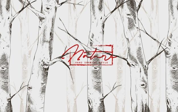 Fondo del modello della foresta di betulla con stile di disegno a mano