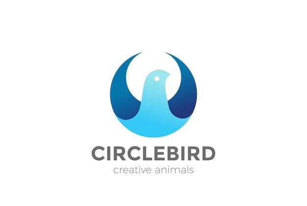 Icona del logo di forma astratta del cerchio dell'uccello.