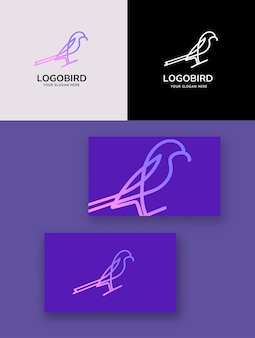 Logo monolinea animale uccello