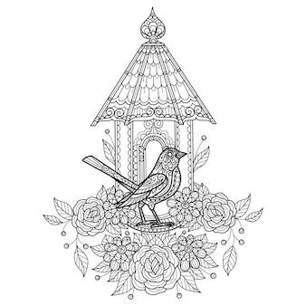 Uccello e casa degli uccelli illustrazione di schizzo disegnato a mano per libro da colorare per adulti