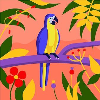 Uccello ara blu e giallo in piedi sui rami. varie foglie tropicali su sfondo rosso chiaro.