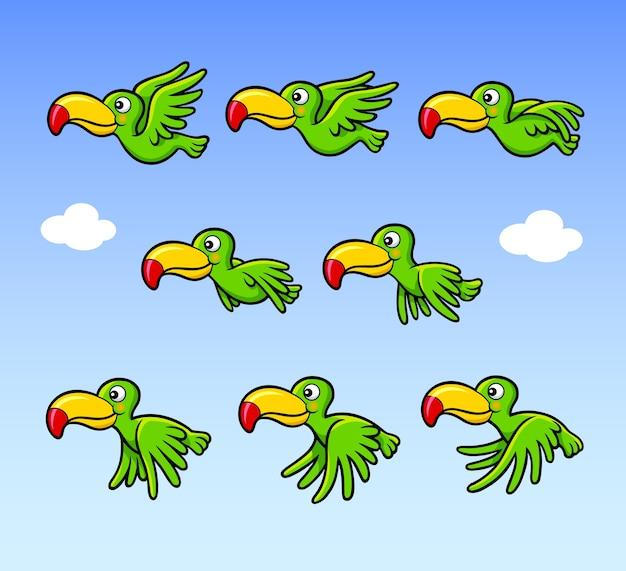 Animazione di volo del fumetto dell'uccello per il bene del gioco