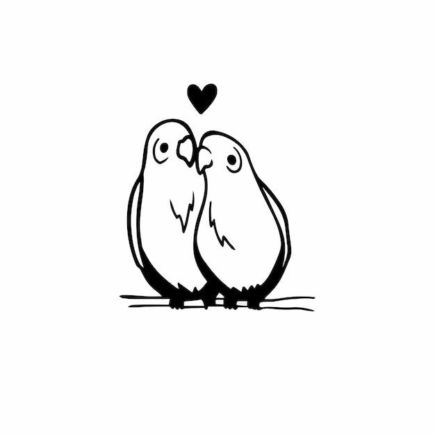 Simbolo delle coppie dell'uccello logo tattoo design stencil vector illustration