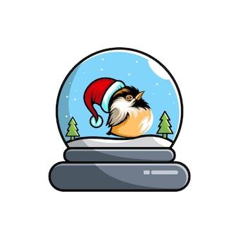 Logo carino del personaggio di natale della cupola dell'uccello
