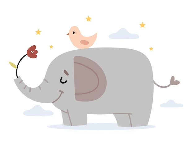 Un uccello su un elefante