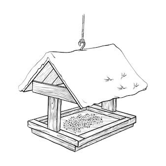 Mangiatoia per uccelli nella neve isolata su uno sfondo bianco illustrazione vettoriale disegnata a mano