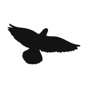 Uccello in volo in stile silhouette su sfondo bianco. illustrazione vettoriale.