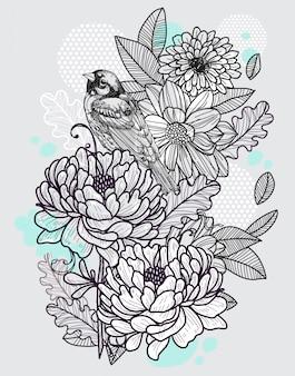 Uccello e fiori disegno a mano e schizzo in bianco e nero