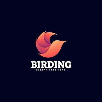 Modello di logo di stile colorato gradiente di uccello