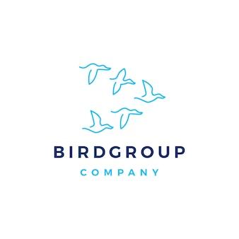 Illustrazione dell'icona di vettore di logo della colonia del gruppo dell'uccello
