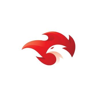 Logo di testa di uccello e fiamma di fuoco phoenix