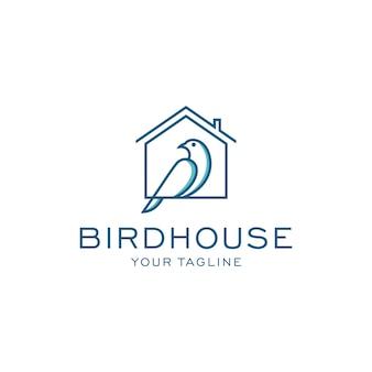 Modello di logo di casa dell'uccello