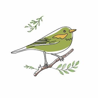 Illustrazione dell'uccello. raccolta di simpatici scarabocchi di uccelli disegnati a mano. stile della linea nel minimalismo su immagine vettoriale bianca