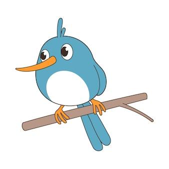 Un uccello è su un ramo.