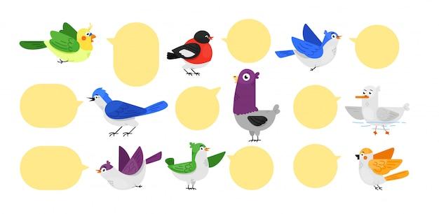 Set di etichette per uccelli. simpatico animale a forma di uccello