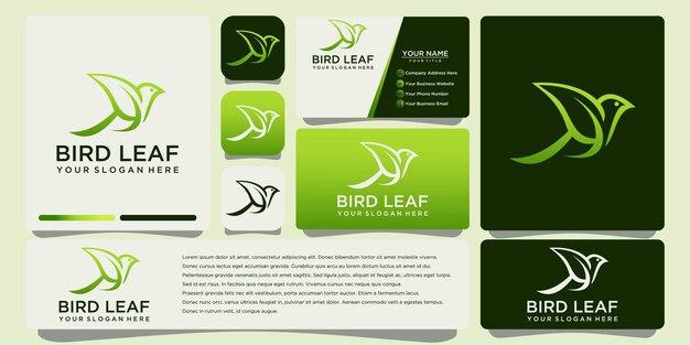 Disegno di marchio foglia di uccello con modello di biglietto da visita
