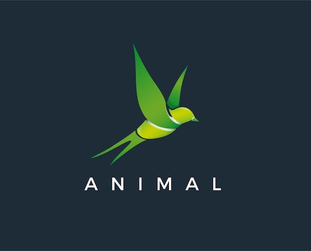 Modello di logo foglia di uccello